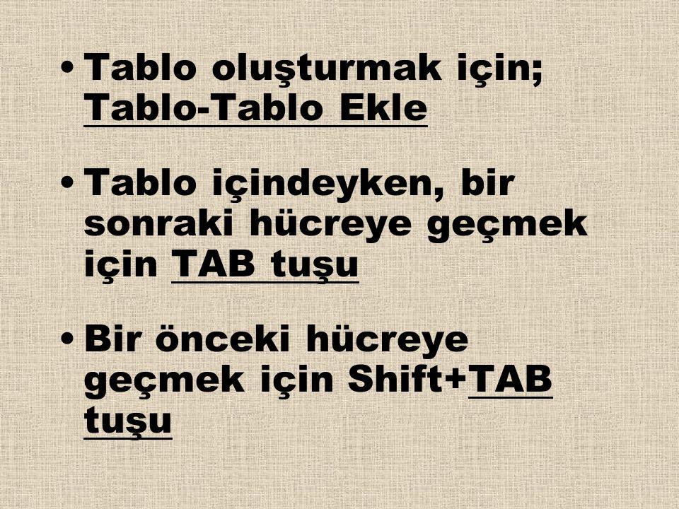 •Tablo oluşturmak için; Tablo-Tablo Ekle •Tablo içindeyken, bir sonraki hücreye geçmek için TAB tuşu •Bir önceki hücreye geçmek için Shift+TAB tuşu