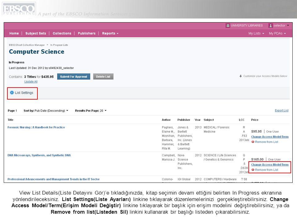 ECM'de anahtar kelime ile başlık aramasına ek olarak, Subject Set(Konu Seti), Collection(Koleksiyon), ve Publisher(Yayıncı) bazında tarama yapabilirsiniz.