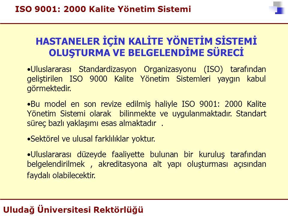 ISO 9001: 2000 Kalite Yönetim Sistemi Uludağ Üniversitesi Rektörlüğü HASTANELER İÇİN KALİTE YÖNETİM SİSTEMİ OLUŞTURMA VE BELGELENDİME SÜRECİ •Uluslara