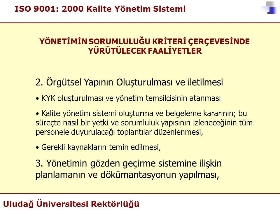 ISO 9001: 2000 Kalite Yönetim Sistemi Uludağ Üniversitesi Rektörlüğü YÖNETİMİN SORUMLULUĞU KRİTERİ ÇERÇEVESİNDE YÜRÜTÜLECEK FAALİYETLER 2. Örgütsel Ya