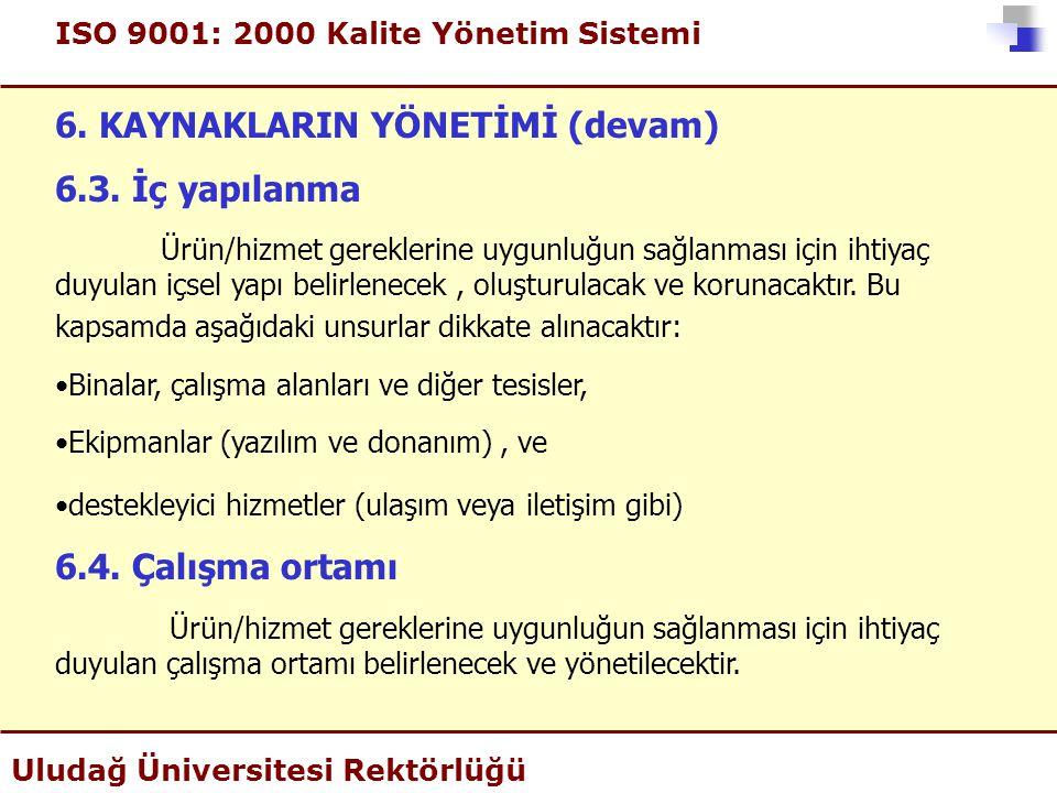 ISO 9001: 2000 Kalite Yönetim Sistemi Uludağ Üniversitesi Rektörlüğü 6. KAYNAKLARIN YÖNETİMİ (devam) 6.3. İç yapılanma Ürün/hizmet gereklerine uygunlu