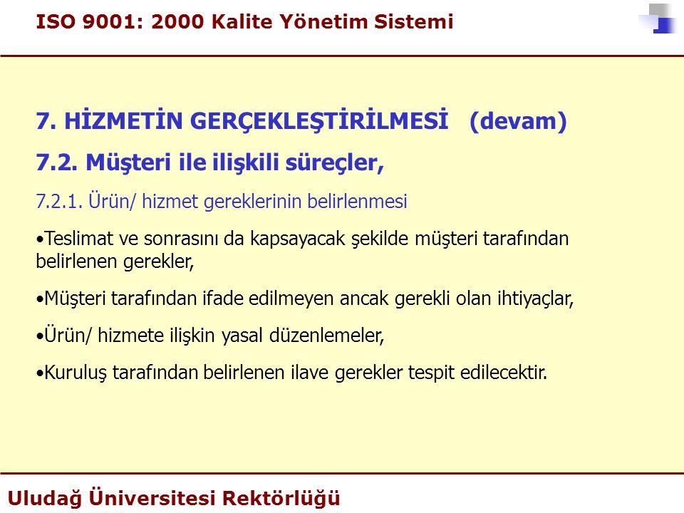 ISO 9001: 2000 Kalite Yönetim Sistemi Uludağ Üniversitesi Rektörlüğü 7. HİZMETİN GERÇEKLEŞTİRİLMESİ (devam) 7.2. Müşteri ile ilişkili süreçler, 7.2.1.