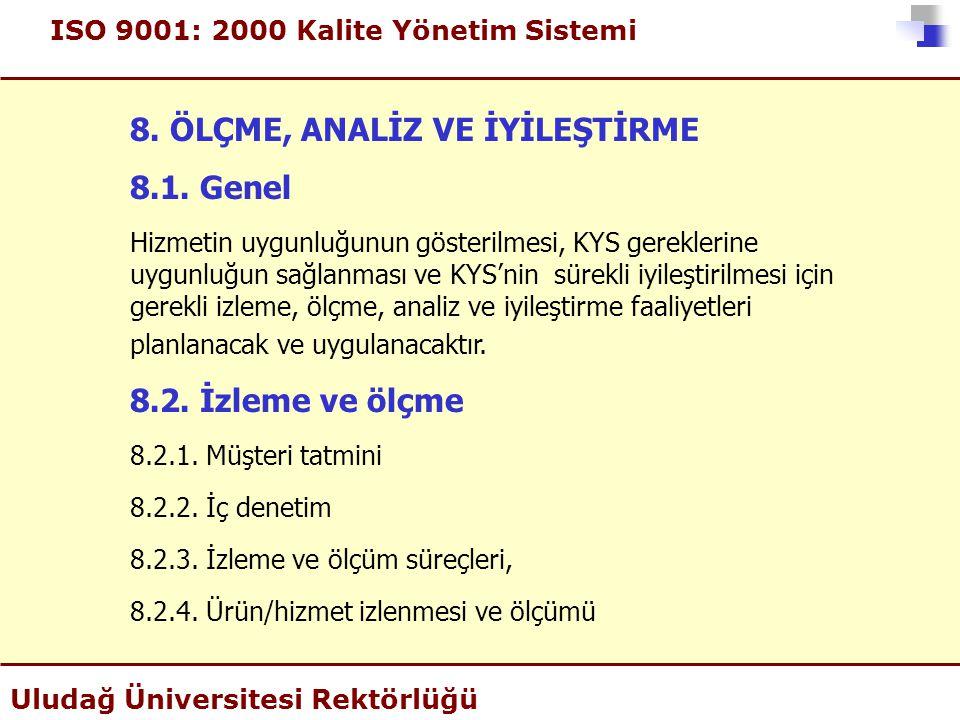ISO 9001: 2000 Kalite Yönetim Sistemi Uludağ Üniversitesi Rektörlüğü 8. ÖLÇME, ANALİZ VE İYİLEŞTİRME 8.1. Genel Hizmetin uygunluğunun gösterilmesi, KY