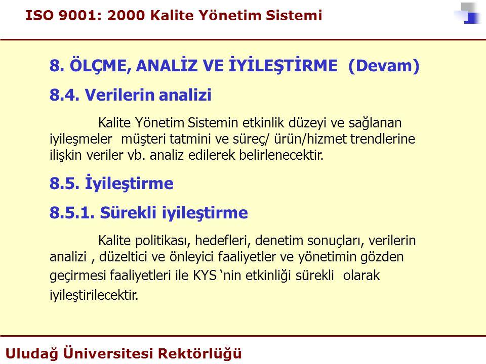 ISO 9001: 2000 Kalite Yönetim Sistemi Uludağ Üniversitesi Rektörlüğü 8. ÖLÇME, ANALİZ VE İYİLEŞTİRME (Devam) 8.4. Verilerin analizi Kalite Yönetim Sis