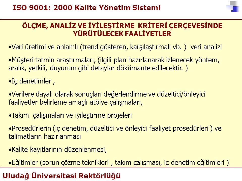 ISO 9001: 2000 Kalite Yönetim Sistemi Uludağ Üniversitesi Rektörlüğü ÖLÇME, ANALİZ VE İYİLEŞTİRME KRİTERİ ÇERÇEVESİNDE YÜRÜTÜLECEK FAALİYETLER •Veri ü