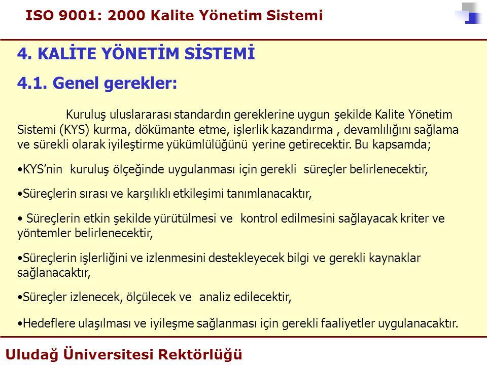 ISO 9001: 2000 Kalite Yönetim Sistemi Uludağ Üniversitesi Rektörlüğü 4. KALİTE YÖNETİM SİSTEMİ 4.1. Genel gerekler: Kuruluş uluslararası standardın ge