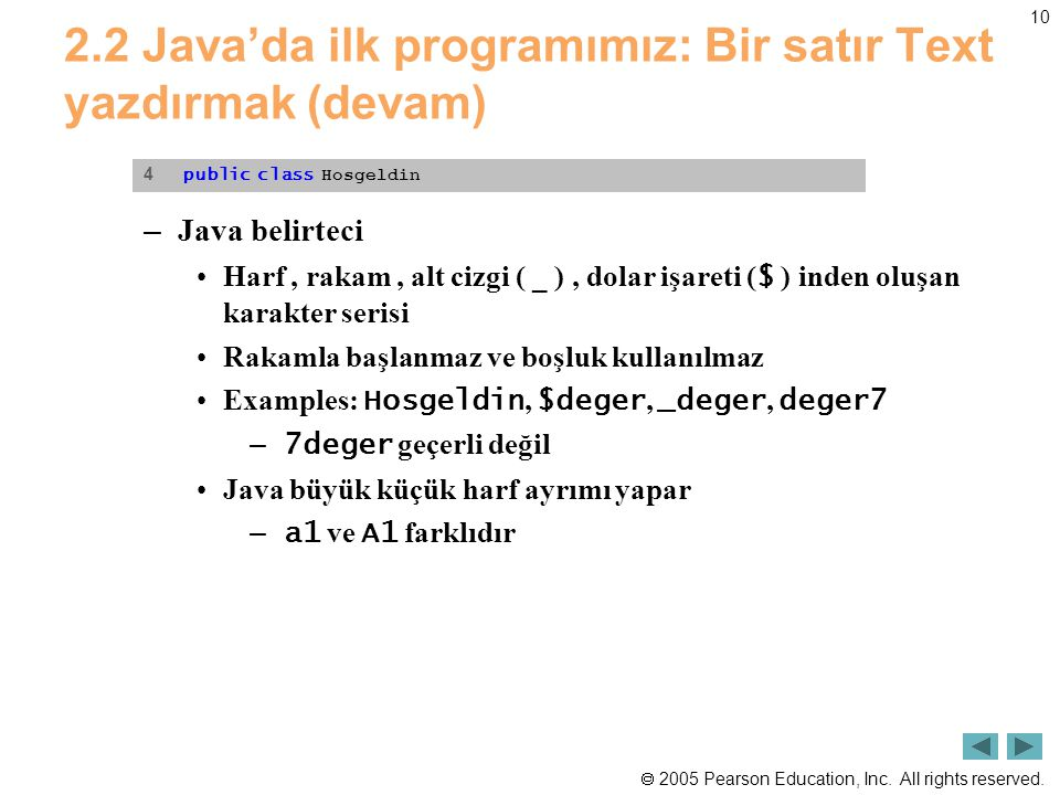  2005 Pearson Education, Inc. All rights reserved. 10 2.2 Java'da ilk programımız: Bir satır Text yazdırmak (devam) – Java belirteci •Harf, rakam, al