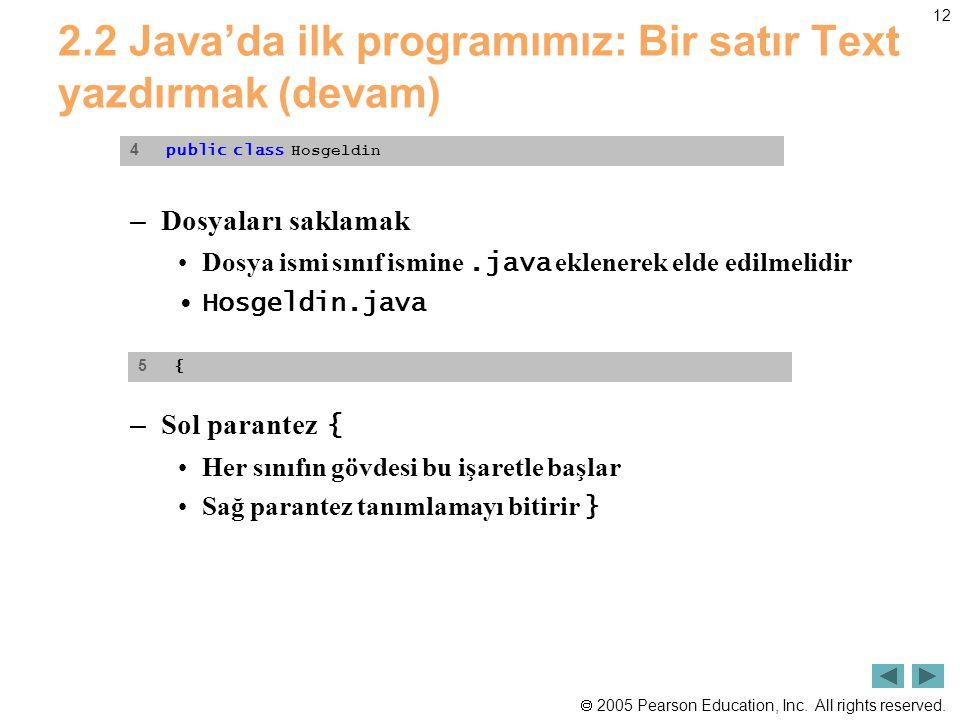  2005 Pearson Education, Inc. All rights reserved. 12 2.2 Java'da ilk programımız: Bir satır Text yazdırmak (devam) – Dosyaları saklamak •Dosya ismi