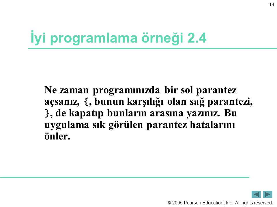  2005 Pearson Education, Inc. All rights reserved. 14 İyi programlama örneği 2.4 Ne zaman programınızda bir sol parantez açsanız, {, bunun karşılığı