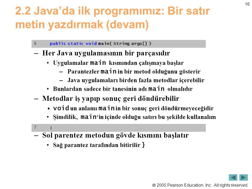  2005 Pearson Education, Inc. All rights reserved. 16 2.2 Java'da ilk programımız: Bir satır metin yazdırmak (devam) – Her Java uygulamasının bir par
