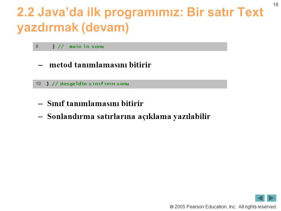  2005 Pearson Education, Inc. All rights reserved. 18 2.2 Java'da ilk programımız: Bir satır Text yazdırmak (devam) – metod tanımlamasını bitirir – S