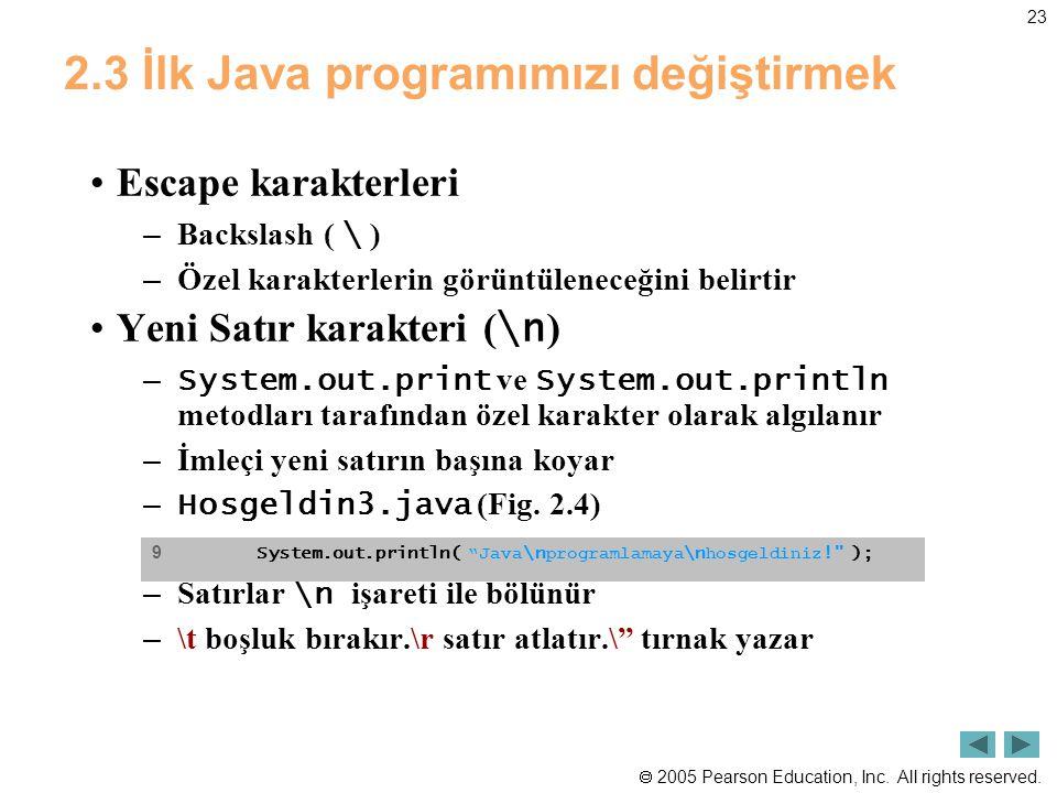 2005 Pearson Education, Inc. All rights reserved. 23 2.3 İlk Java programımızı değiştirmek •Escape karakterleri – Backslash ( \ ) – Özel karakterler