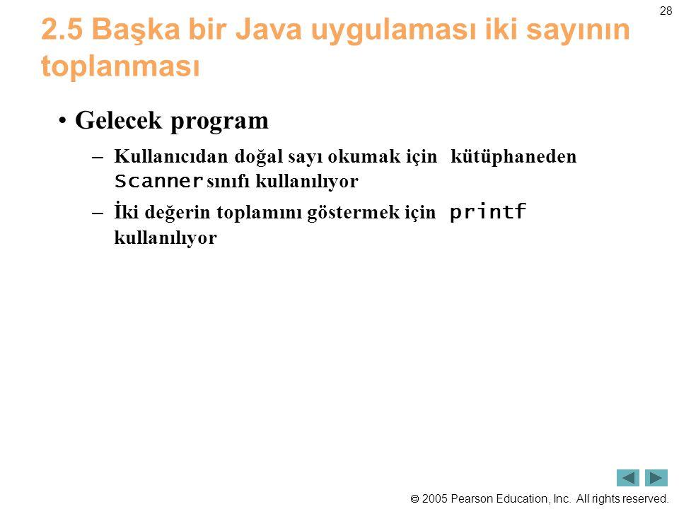  2005 Pearson Education, Inc. All rights reserved. 28 2.5 Başka bir Java uygulaması iki sayının toplanması •Gelecek program – Kullanıcıdan doğal sayı