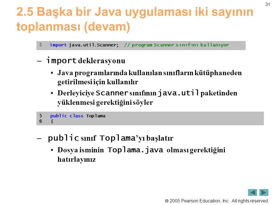  2005 Pearson Education, Inc. All rights reserved. 31 2.5 Başka bir Java uygulaması iki sayının toplanması (devam) – import deklerasyonu •Java progra