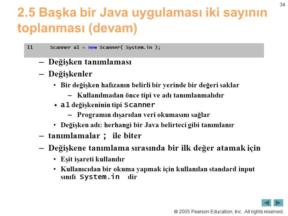  2005 Pearson Education, Inc. All rights reserved. 34 2.5 Başka bir Java uygulaması iki sayının toplanması (devam) – Değişken tanımlaması – Değişkenl