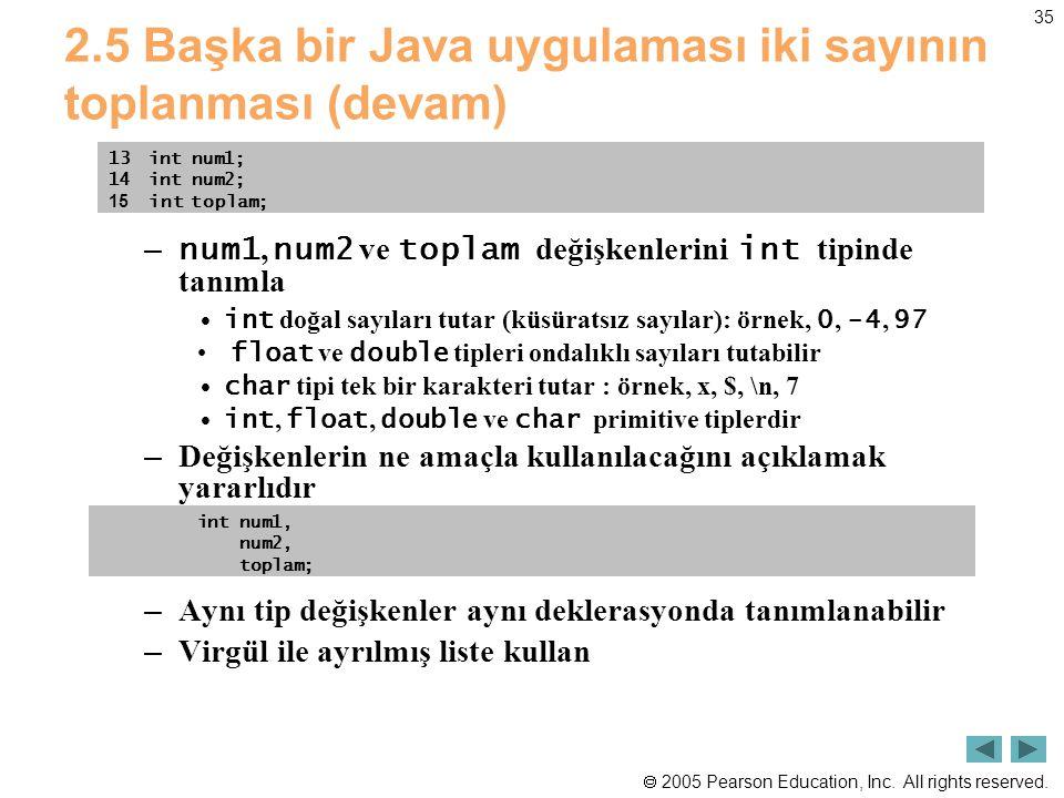  2005 Pearson Education, Inc. All rights reserved. 35 2.5 Başka bir Java uygulaması iki sayının toplanması (devam) – num1, num2 ve toplam değişkenler