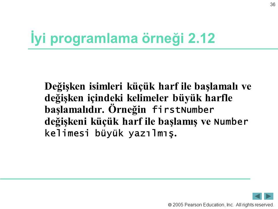  2005 Pearson Education, Inc. All rights reserved. 36 İyi programlama örneği 2.12 Değişken isimleri küçük harf ile başlamalı ve değişken içindeki kel