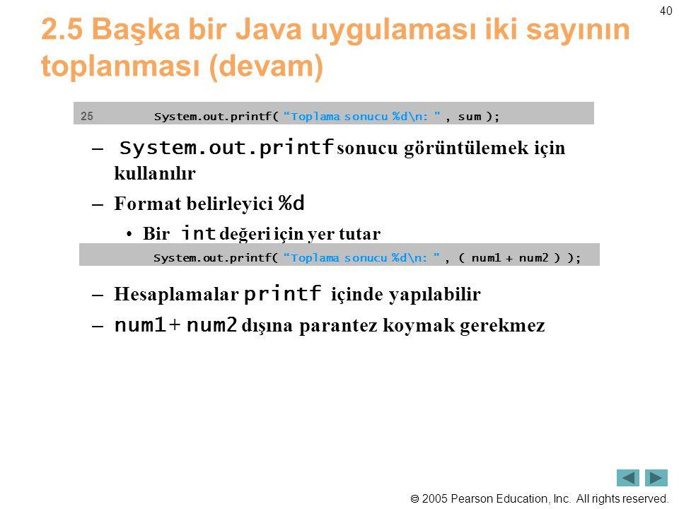  2005 Pearson Education, Inc. All rights reserved. 40 2.5 Başka bir Java uygulaması iki sayının toplanması (devam) – System.out.printf sonucu görüntü