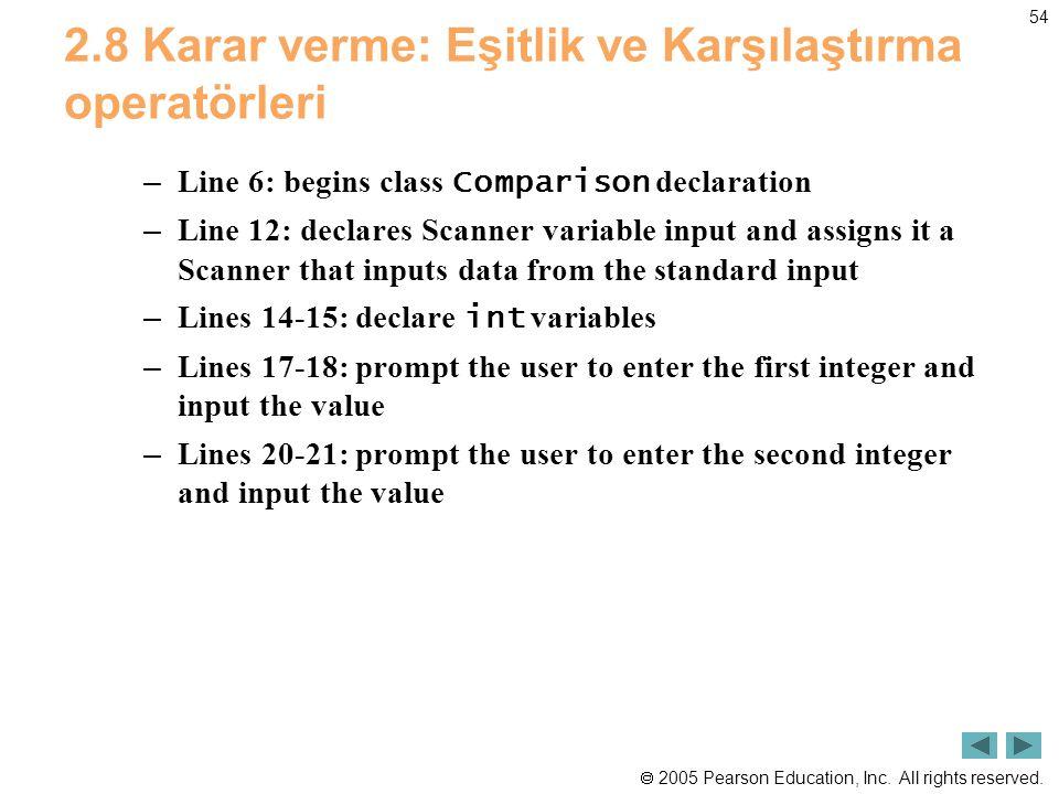  2005 Pearson Education, Inc. All rights reserved. 54 2.8 Karar verme: Eşitlik ve Karşılaştırma operatörleri – Line 6: begins class Comparison declar