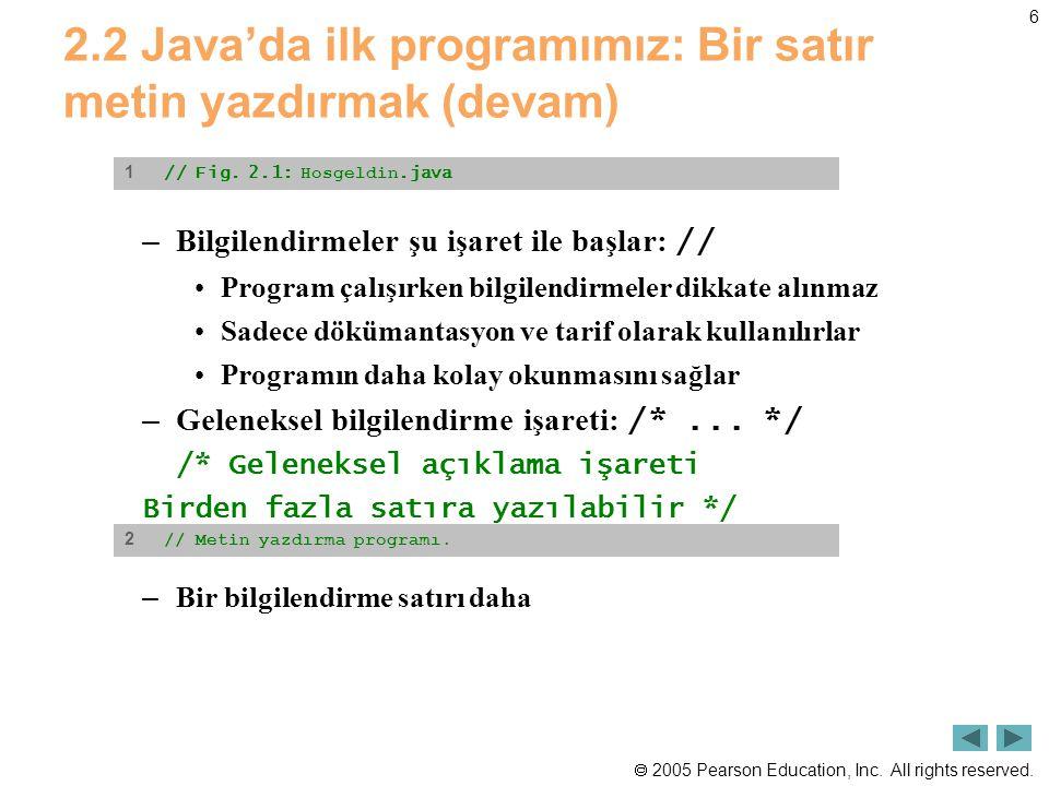  2005 Pearson Education, Inc. All rights reserved. 6 2.2 Java'da ilk programımız: Bir satır metin yazdırmak (devam) – Bilgilendirmeler şu işaret ile