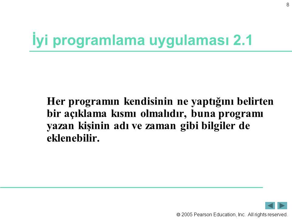  2005 Pearson Education, Inc. All rights reserved. 8 İyi programlama uygulaması 2.1 Her programın kendisinin ne yaptığını belirten bir açıklama kısmı