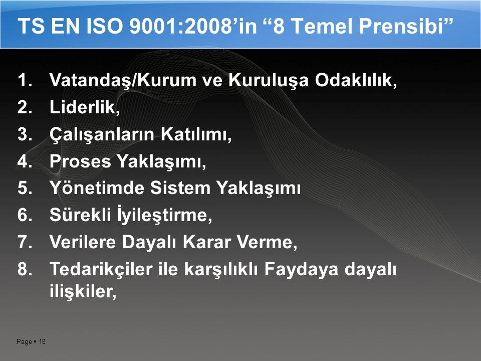 Page  17 ISO 9000:2000 Serisi Standardları  TS EN ISO 9000:2000 ; Kalite Yönetim Sistemleri – Temel Terimler ve Sözlük  TS EN ISO 9001:2008 ; Kalite Yönetim Sistemleri – Şartlar  TS EN ISO 9004:2000 ; Kalite Yönetim Sistemleri – Performansın İyileştirilmesi İçin Kılavuz  TS EN ISO 19011 ; Çevre ve Kalite Yönetim Sistemleri Tetkik Kılavuzu.