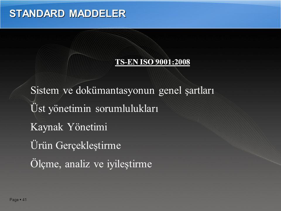 Page  40 ISO 9001: 2008 Kalite Yönetim Standardı ANA MADDELERİ 0.1 Genel 0.2 Proses Yaklaşımı 0.3 ISO 9004 ile ilişkiler 0.4 Diğer Yönetim Sistemleri ile uyumluluk 1.0 KAPSAM, 2.0 Atıf yapılan standartlar(ıso 14000, ıso 9000, ıso 9004, ıso 19011) 3.0 Terimler tarifler, 4.0 Kalite Yönetim Sistemi, 5.0 Yönetimin Sorumluluğu, 6.0 Kaynakların Yönetimi, 7.0 Üretimin gerçekleştirilmesi, 8.0 Ölçme, analiz ve iyileştirme,