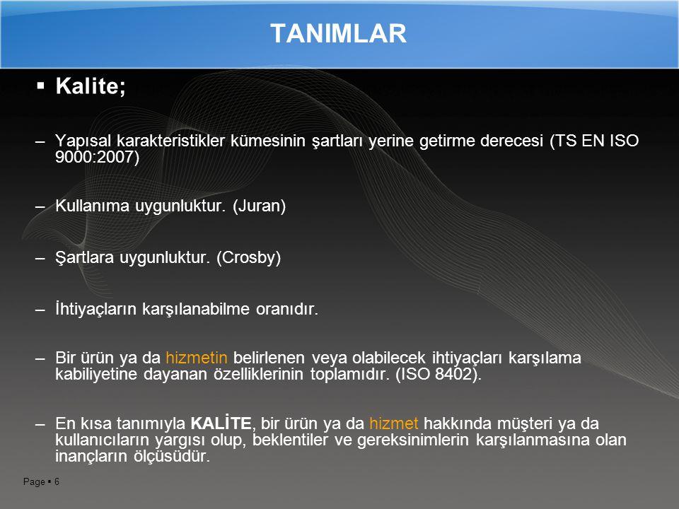Page  5 TS EN ISO 9001:2008 Kalite Yönetim Sistemlerinin kurulması esnasında uygulanması gereken şartların tanımlandığı ve belgelendirme denetimine t