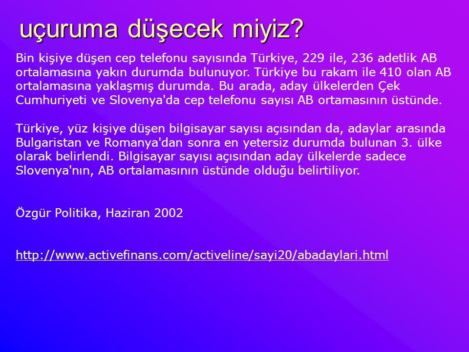 uçuruma düşecek miyiz? Bin kişiye düşen cep telefonu sayısında Türkiye, 229 ile, 236 adetlik AB ortalamasına yakın durumda bulunuyor. Türkiye bu rakam