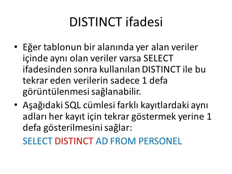 DISTINCT ifadesi • Eğer tablonun bir alanında yer alan veriler içinde aynı olan veriler varsa SELECT ifadesinden sonra kullanılan DISTINCT ile bu tekr