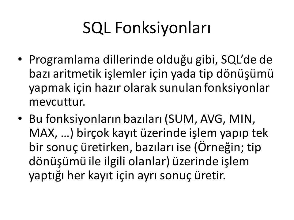 SQL Fonksiyonları • Programlama dillerinde olduğu gibi, SQL'de de bazı aritmetik işlemler için yada tip dönüşümü yapmak için hazır olarak sunulan fonk