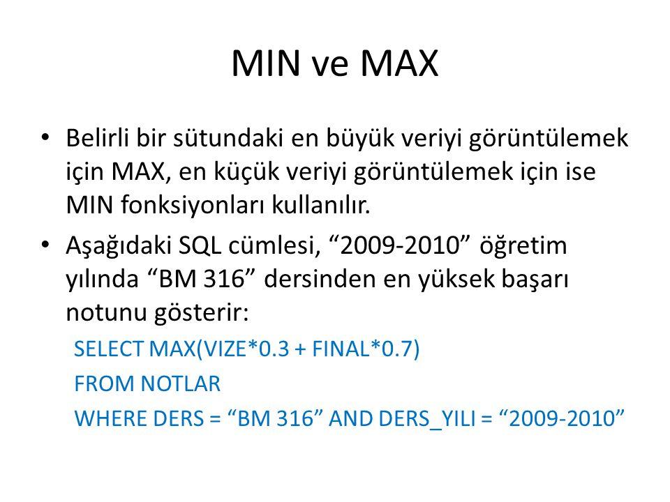 MIN ve MAX • Belirli bir sütundaki en büyük veriyi görüntülemek için MAX, en küçük veriyi görüntülemek için ise MIN fonksiyonları kullanılır. • Aşağıd