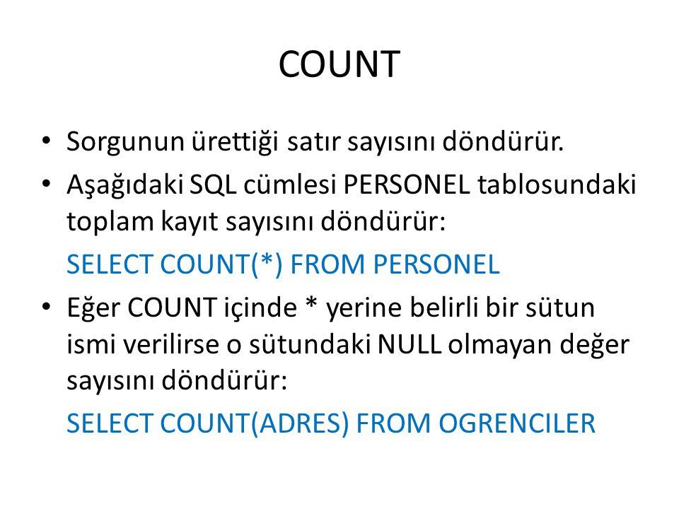 COUNT • Sorgunun ürettiği satır sayısını döndürür. • Aşağıdaki SQL cümlesi PERSONEL tablosundaki toplam kayıt sayısını döndürür: SELECT COUNT(*) FROM