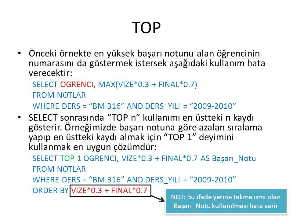 TOP • Önceki örnekte en yüksek başarı notunu alan öğrencinin numarasını da göstermek istersek aşağıdaki kullanım hata verecektir: SELECT OGRENCI, MAX(