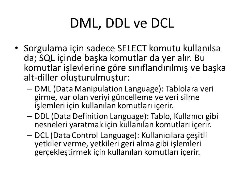 DML, DDL ve DCL • Sorgulama için sadece SELECT komutu kullanılsa da; SQL içinde başka komutlar da yer alır. Bu komutlar işlevlerine göre sınıflandırıl