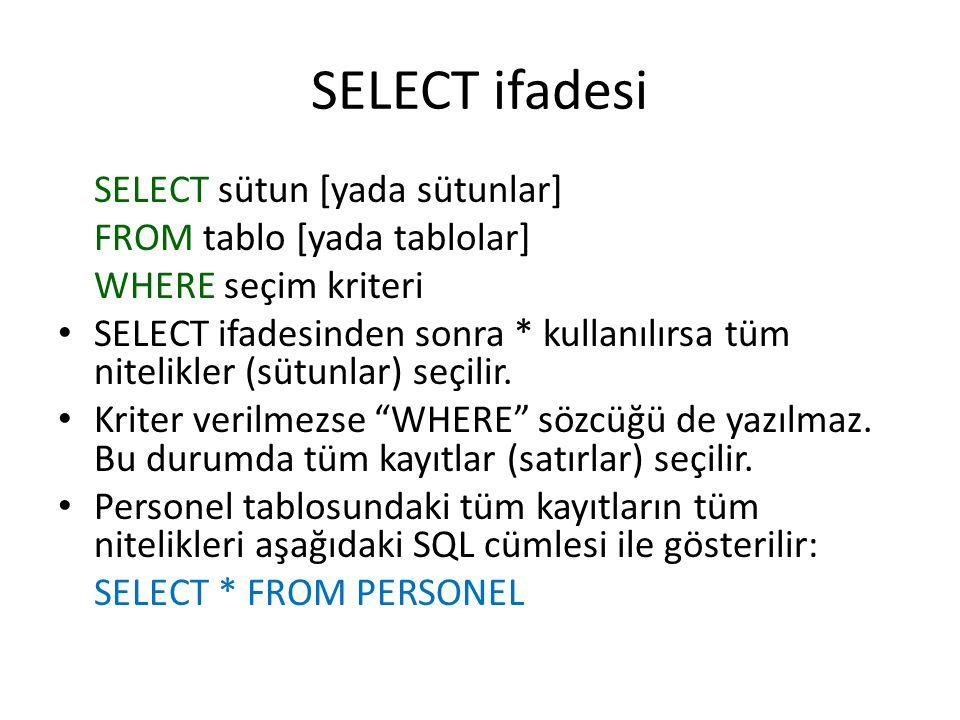 SELECT ifadesi SELECT sütun [yada sütunlar] FROM tablo [yada tablolar] WHERE seçim kriteri • SELECT ifadesinden sonra * kullanılırsa tüm nitelikler (s