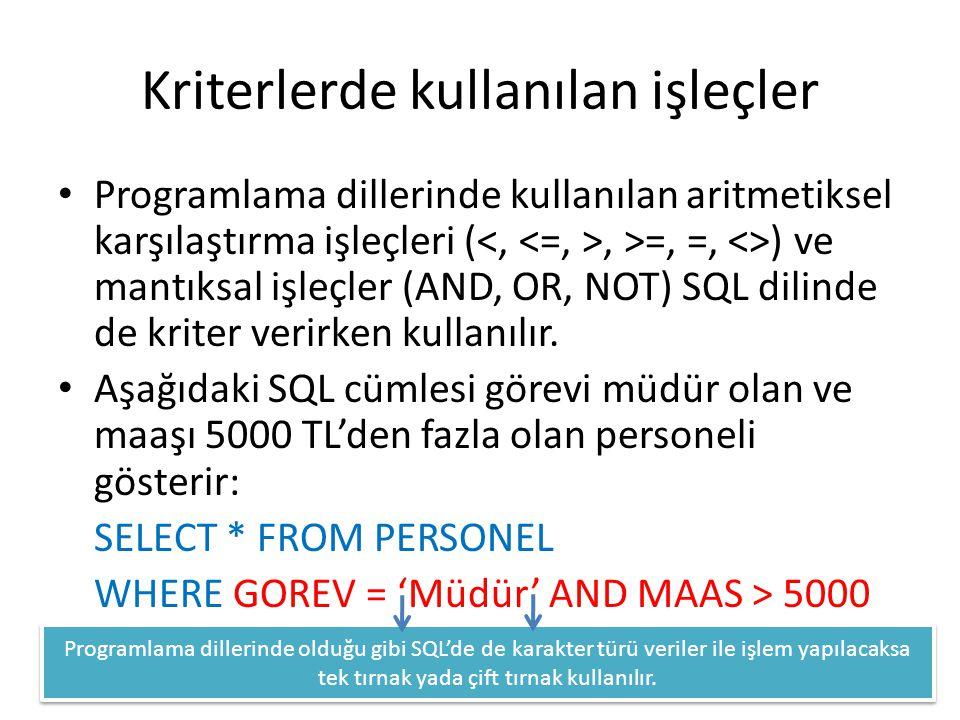 Kriterlerde kullanılan işleçler • Programlama dillerinde kullanılan aritmetiksel karşılaştırma işleçleri (, >=, =, <>) ve mantıksal işleçler (AND, OR,