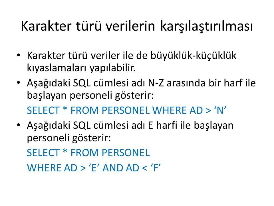 Karakter türü verilerin karşılaştırılması • Karakter türü veriler ile de büyüklük-küçüklük kıyaslamaları yapılabilir. • Aşağıdaki SQL cümlesi adı N-Z