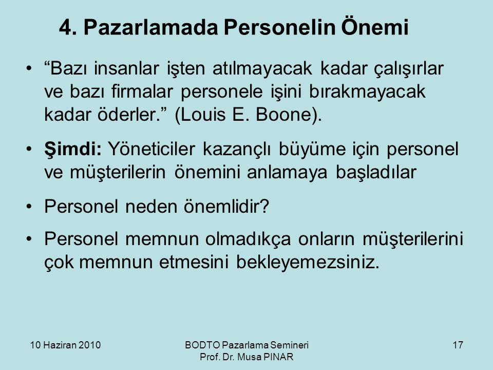 """10 Haziran 2010BODTO Pazarlama Semineri Prof. Dr. Musa PINAR 17 4. Pazarlamada Personelin Önemi •""""Bazı insanlar işten atılmayacak kadar çalışırlar ve"""
