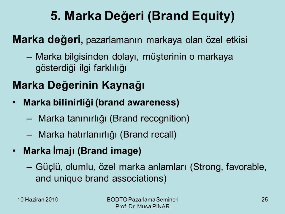 10 Haziran 2010BODTO Pazarlama Semineri Prof. Dr. Musa PINAR 25 5. Marka Değeri (Brand Equity) Marka değeri, pazarlamanın markaya olan özel etkisi –Ma