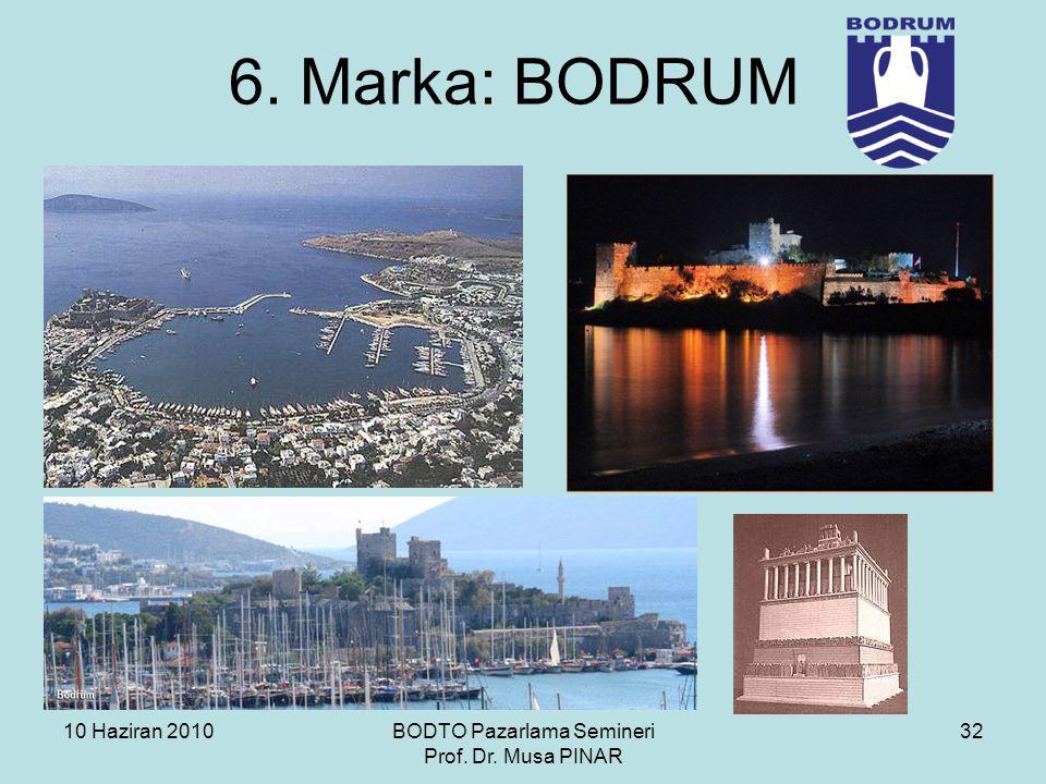 10 Haziran 2010BODTO Pazarlama Semineri Prof. Dr. Musa PINAR 32 6. Marka: BODRUM