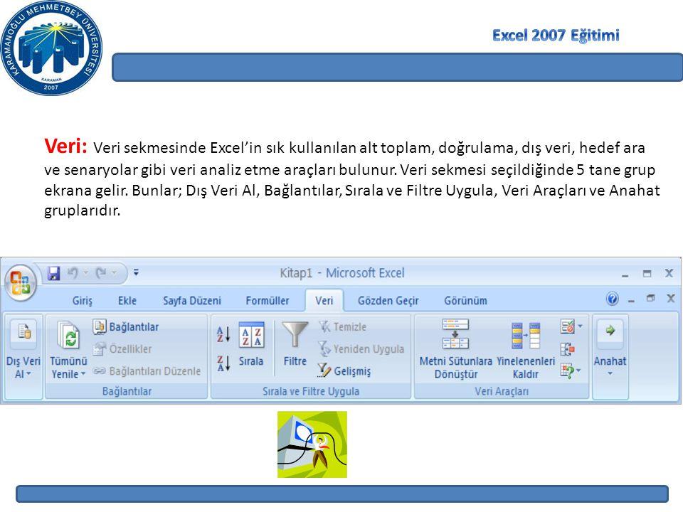 Veri: Veri sekmesinde Excel'in sık kullanılan alt toplam, doğrulama, dış veri, hedef ara ve senaryolar gibi veri analiz etme araçları bulunur.