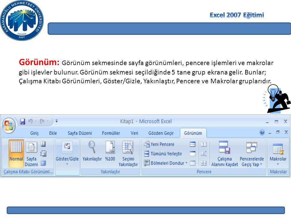 Görünüm: Görünüm sekmesinde sayfa görünümleri, pencere işlemleri ve makrolar gibi işlevler bulunur. Görünüm sekmesi seçildiğinde 5 tane grup ekrana ge