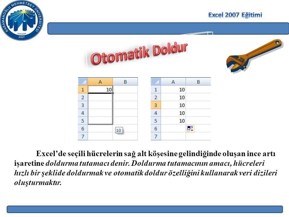 Excel'de seçili hücrelerin sağ alt köşesine gelindiğinde oluşan ince artı işaretine doldurma tutamacı denir.