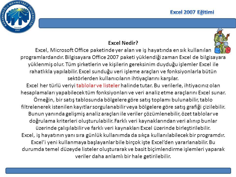 Excel Nedir? Excel, Microsoft Office paketinde yer alan ve iş hayatında en sık kullanılan programlardandır. Bilgisayara Office 2007 paketi yüklendiği