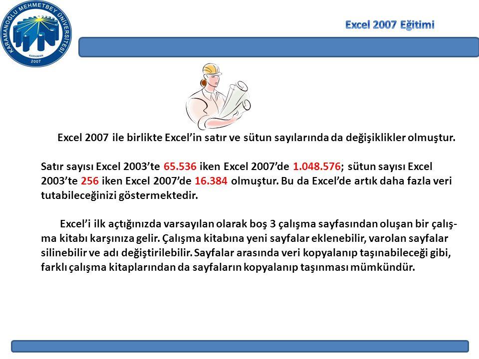 Excel 2007 ile birlikte Excel'in satır ve sütun sayılarında da değişiklikler olmuştur. Satır sayısı Excel 2003'te 65.536 iken Excel 2007'de 1.048.576;