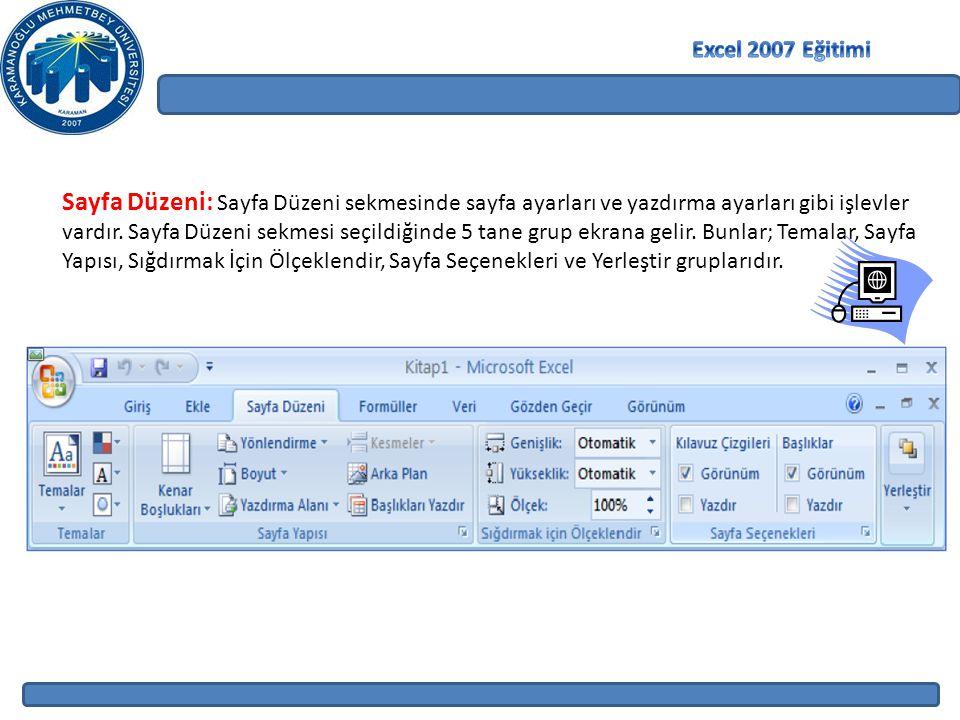 Sayfa Düzeni: Sayfa Düzeni sekmesinde sayfa ayarları ve yazdırma ayarları gibi işlevler vardır. Sayfa Düzeni sekmesi seçildiğinde 5 tane grup ekrana g