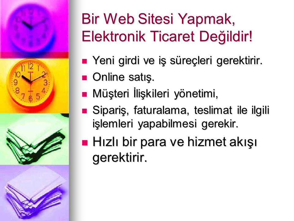 Bir Web Sitesi Yapmak, Elektronik Ticaret Değildir!  Yeni girdi ve iş süreçleri gerektirir.  Online satış.  Müşteri İlişkileri yönetimi,  Sipariş,