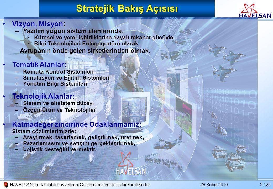 26 Şubat 2010HAVELSAN, Türk Silahlı Kuvvetlerini Güçlendirme Vakfı'nın bir kuruluşudur.2 / 25 •Vizyon, Misyon: –Yazılım yoğun sistem alanlarında; •Kür