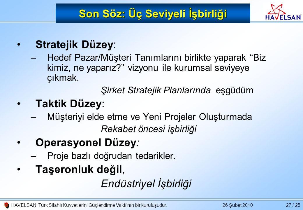 26 Şubat 2010HAVELSAN, Türk Silahlı Kuvvetlerini Güçlendirme Vakfı'nın bir kuruluşudur.27 / 25 Son Söz: Üç Seviyeli İşbirliği •Stratejik Düzey: –Hedef